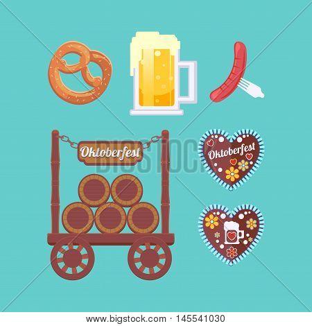 Oktoberfest set attributes. Foamy beer snacks traditional sweets. Stand with beer barrels. German beer festival.