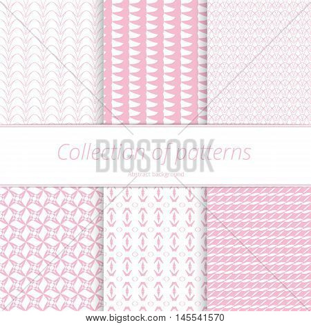 Set pale endless backgrounds. Monochromatic pastel texture. Simple graphic swatch. Vector illustration.