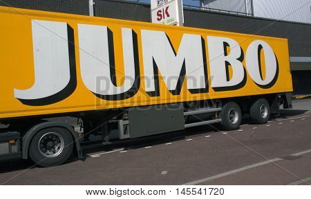 Letters Jumbo On A Heavy Truck Transporting Food