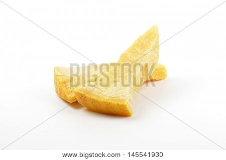 Two wedges of true Parmesan cheese