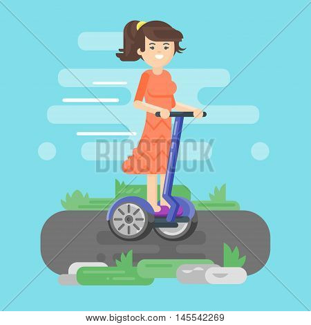 Vector flat style illustration of young woman riding an two-wheeled vehicle. Girl using battery-powered electric vehicle.