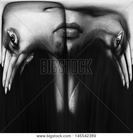 abstract image of a young man's face