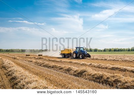 With the high-pressure baler coupled to a tractor the wheat straw is mechanically picked up and squeezed in square bales.