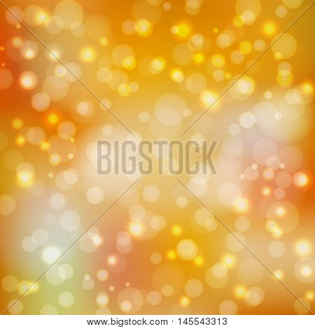 Bokeh lights. Pastel autumn background with blur. Back to school. Brilliant orange wallpaper. Festive decoration with circles. Golden abstract backdrop. Vector illustration.