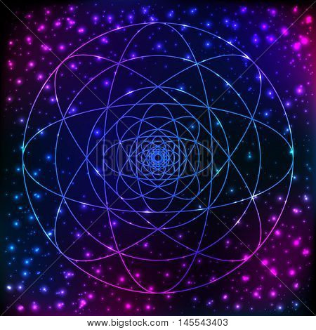 Sacred geometry symbol. Mandala mystery element. Used for space, universe, big bang, alchemy, religion, philosophy, astrology, science, physics, chemistry and spirituality themes.