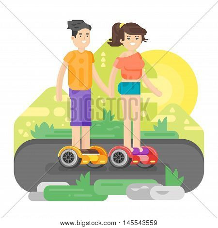 Vector flat style illustration of young man and woman riding an battery-powered electric vehicle in a park. Self-balancing scooter. Isolated on white background. Modern ecological transport.