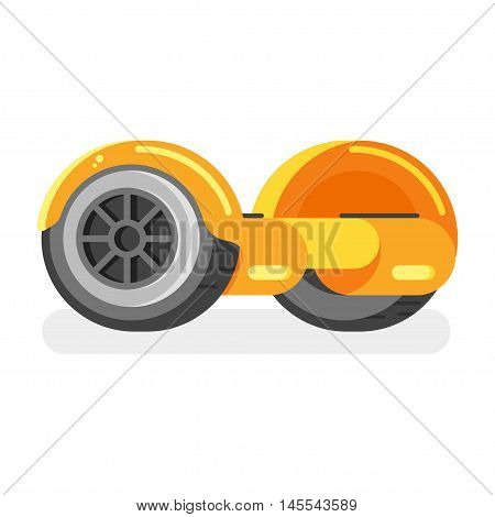 Vector flat style illustration of two-wheeled battery-powered electric vehicle on white background. Self-balancing scooter. Modern ecological transport.