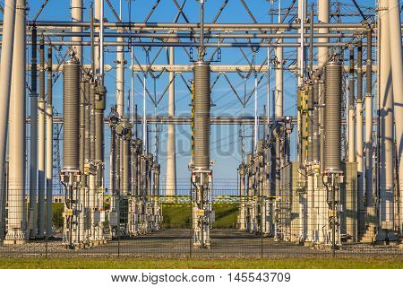 Modern Industrial High Voltage Power Substation