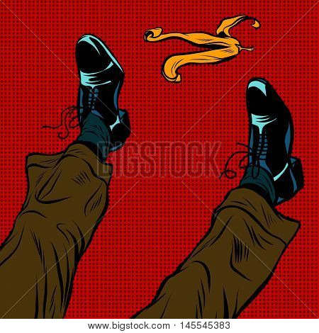 Slipping on the banana pop art retro comic drawing illustration. Men boots and a yellow banana peel