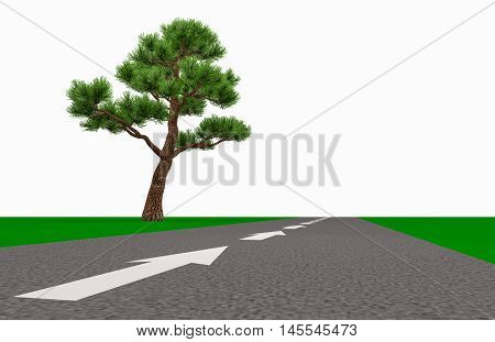 white arrow on the road indicates the direction of the horizon past the lone tree 3d illustration