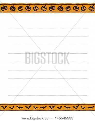 Halloween memo pad design with jack o lanterns and bats