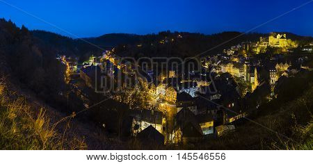 Monschau At Night Panorama, Germany