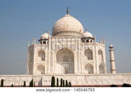 White marble Taj Mahal in India, Agra