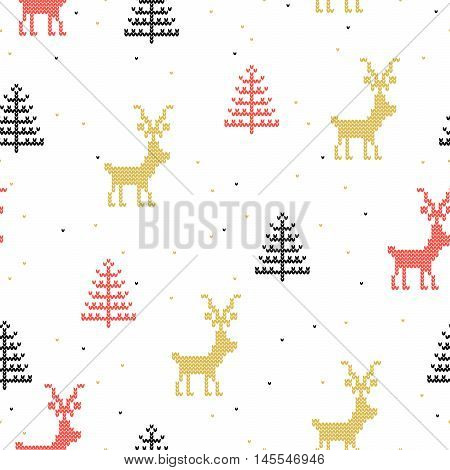 Vector Seamless Background. Knitted Gold Red Deers And Black Fir Tree On Snow Background. Cute Chris