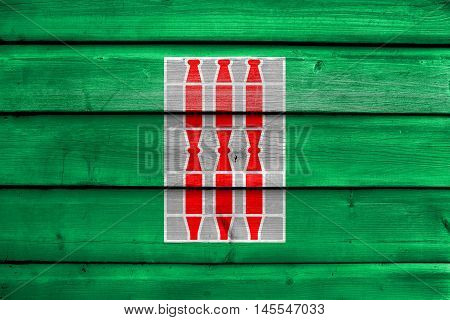 Flag Of Umbria Region, Italy, Painted On Old Wood Plank Background