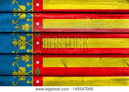 Flag Of Valencian Community, Spain, Painted On Old Wood Plank Background