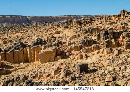 The Ramon Crater geological formation in Makhtesh Ramon nature reserve in Negev desert Israel