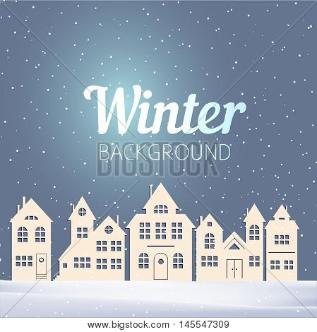 Vector Christmas Winter Evening Landscape With Houses And Snow