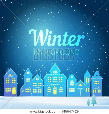 Vector Winter Evening Landscape With Houses, Christmas Tree And Snow.