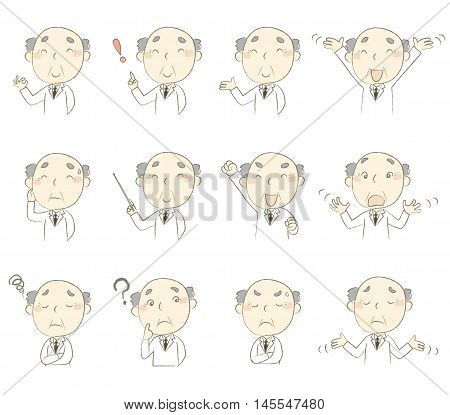 Set of poses middle age man wearing white gown
