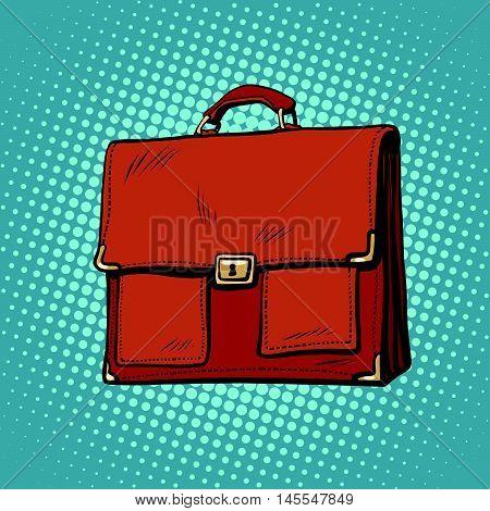 Realistic stylish leather business portfolio bag pop art retro comic drawing illustration