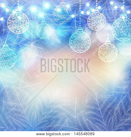Vector Magic frozen background with christmas balls and lights