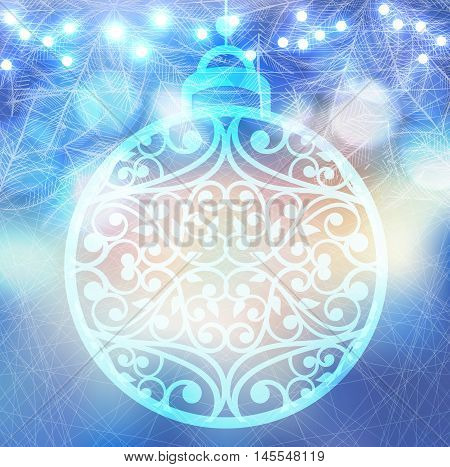Vector winter frozen background with christmas ball and lights bokeh. Magic icy pattern on glass window with fir tree