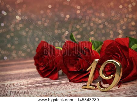 birthday concept with red roses on wooden desk. 3D render - nineteenth birthday. 19th