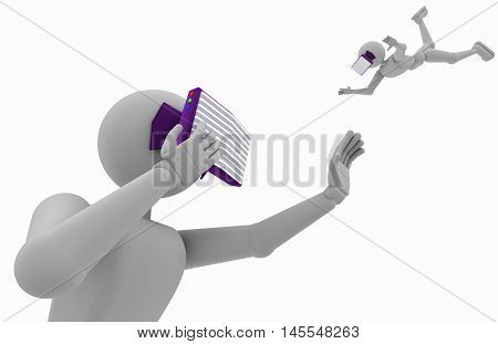 abstract white people uses virtual glasses object closeup 3d illustration isolated on white background