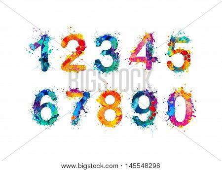 Collection of digits. Numbers figures. Vector paint splash.