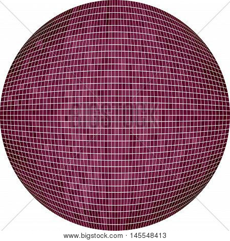 Burgundy Ball in mosaic - Illustration,  Lilac Sphere vector,   Abstract Grunge Mosaic in circle
