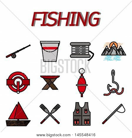 Fishing icons. Flat design. Vector illustration EPS 10