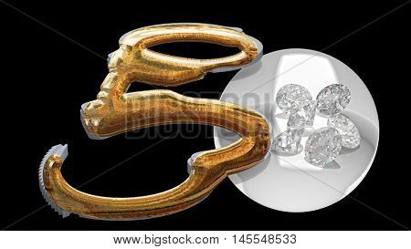 Gold handcuffs and diamonds symbolizing vice in love affairs 3d rendering