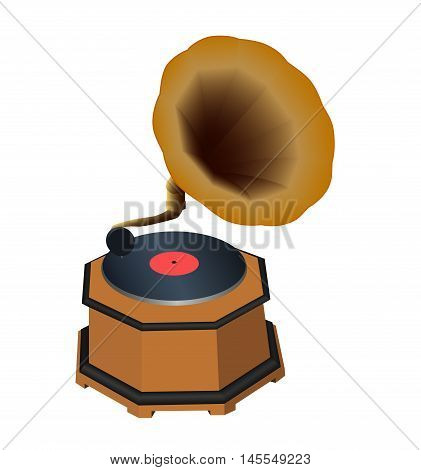 Old gramophone with a plate on a white background