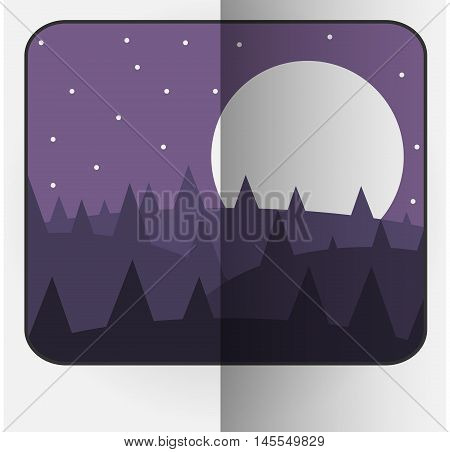 Cartoon Style Bent Vector Photo Frame With Night Nature. Vector Illustration