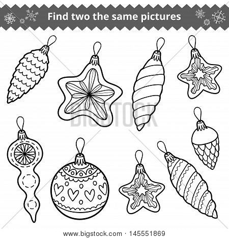 Find Two The Same Pictures. Christmas Tree Toys