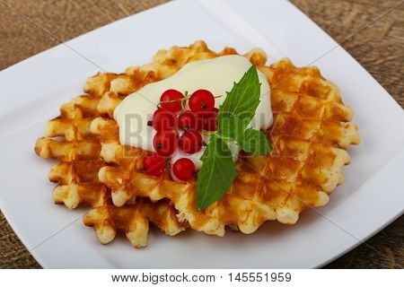 Waffle With Red Currants