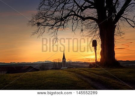 Hill With Tree And Wayside Cross, Dreamy Sunset Scenery