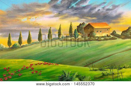 Rural landscape at sunset. Digital painting.