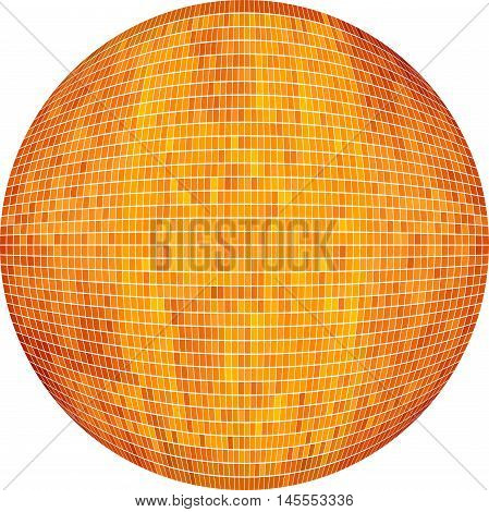 Orange Ball in mosaic - Illustration,  Orange Sphere vector,   Abstract Grunge Orange Mosaic in circle