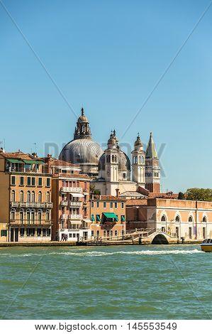 Grand Canal and Basilica Santa Maria della Salute Venice Italy