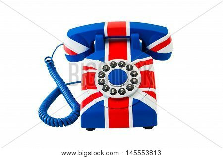 Telephone isolated on white. Union Jack telephone with pattern of British flag isolated on the white background. Top view. Telephone closeup.