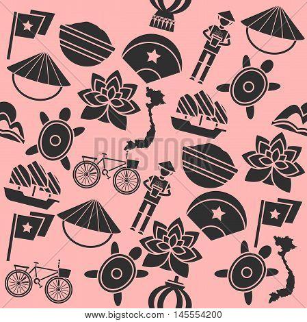 Hand drawn Vietnam pattern. Vector illustration EPS 10