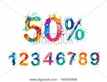 SALE 50 % Percents. Vector paint splash. You can set any discount from the collection of digits