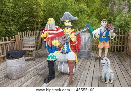 GUNZBURG GERMANY - AUG 18 2016: Lego Pirates Musicians characters at the Legoland Deutschland park in Guenzburg Germany