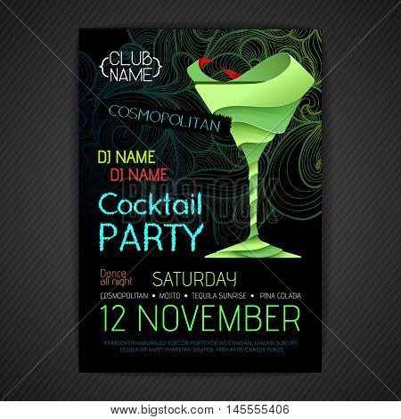 Disco cocktail party poster. 3D cocktail design.