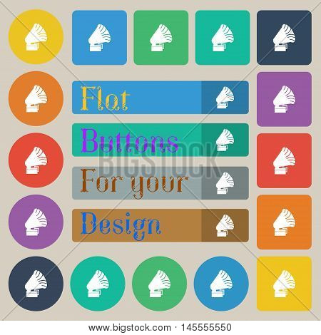 Gramophone Icon. Sign. Set Of Twenty Colored Flat, Round, Square And Rectangular Buttons. Vector