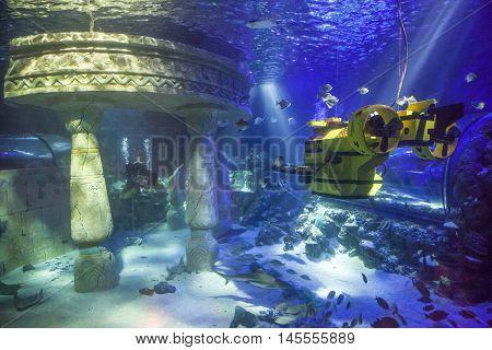 GUNZBURG GERMANY - AUG 18 2016: Yellow submarine at the Legoland Atlantis in Legoland Deutschland