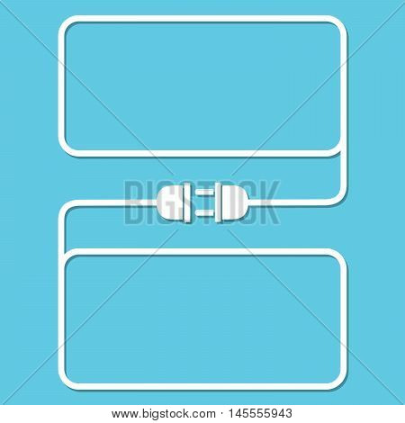 Abstract background with wire plug and socket. Concept of connection disconnection of the electricity. Wire plug and socket - vector illustration.