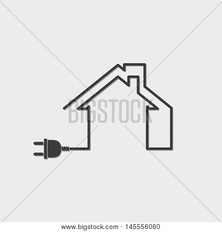 Black house with wire plug - vector illustration. Simple circuit house with plug.
